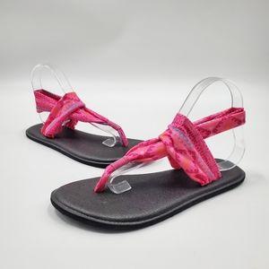 Sanuk Sandals Yoga Sling Back Pink Boho Burst